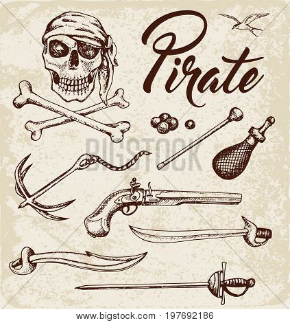 Set of vector vintage hand drawn weapons of pirates. Pirate design elements.