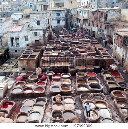 FEZ, MOROCCO - JANUARY 4, 2014: Men working hard in the tannery souk in Fez, Morocco. The tannery souk of weavers is the most visited part of the 2000 years old city.