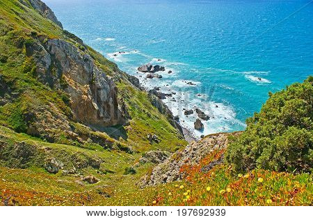 The Steep Slopes Of Cape Roca Cliffs