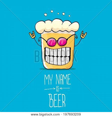 vector cartoon funky beer glass character on blue background.vector beer label or poster design template. my name is beer concept illustration