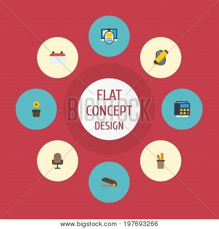 Flat Icons Highlighter, Puncher, Armchair And Other Vector Elements