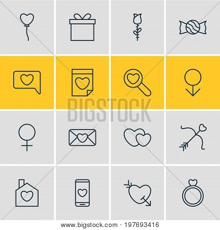 Editable Pack Of Male, Messenger, Rose And Other Elements.  Vector Illustration Of 16 Love Icons.
