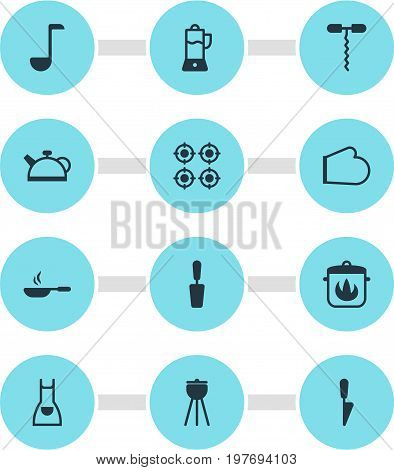 Editable Pack Of Smock, Barbecue, Wine Opener And Other Elements.  Vector Illustration Of 12 Kitchenware Icons.