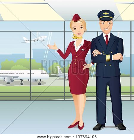 Pilot and Flight attendants of Commercial Airlines in the airport. Sky team. Flat design, vector cartoon illustration.