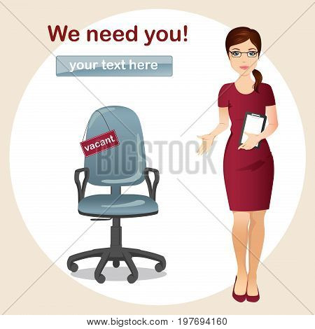 HR manager hires a Professional for the position / Manager invites a gesture for a vacant seat, Staff recruitment. Flat design, vector cartoon illustration.