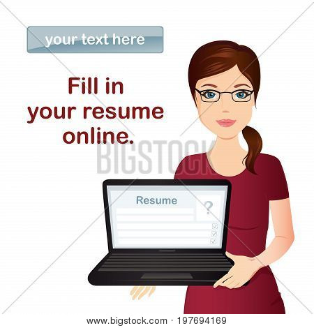 HR manager hires a Professional for the position, holding laptop with online form CV / Staff recruitment. Flat design, vector cartoon illustration.