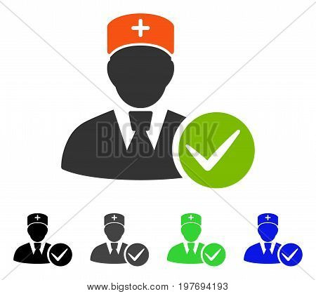 Accept Doctor flat vector illustration. Colored accept doctor gray, black, blue, green icon variants. Flat icon style for web design.