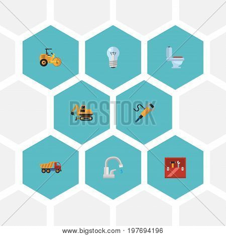 Flat Icons Tractor, Steamroller, Bulb And Other Vector Elements