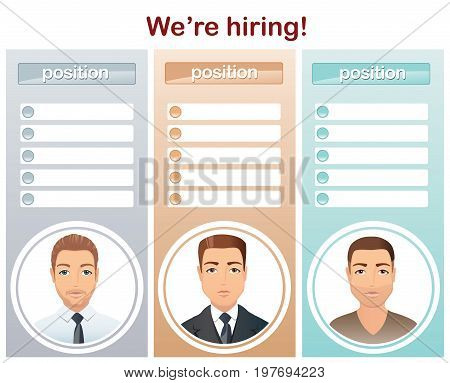 Staff recruitment, Vacancies / Set of 3 layout for hiring specialists, male. Flat design, vector illustration
