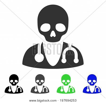 Death Doctor flat vector icon. Colored death doctor gray, black, blue, green pictogram versions. Flat icon style for web design.