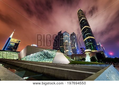 Night View Of The Guangzhou Opera House And Skyscrapers