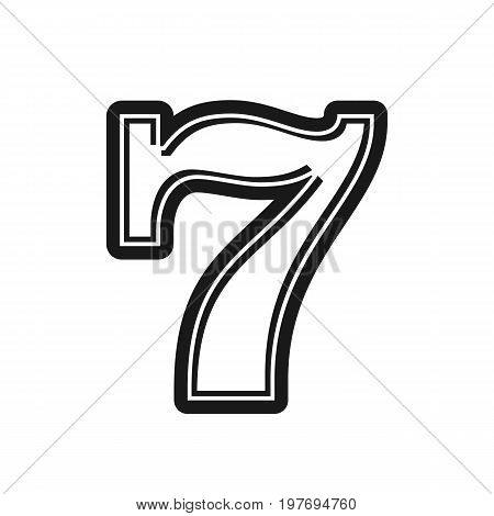 Slot machine lucky seven. Red luck seven. Seven isolated on background. Vector stock.