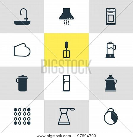 Editable Pack Of Tea, Extractor Appliance, Timekeeper And Other Elements.  Vector Illustration Of 12 Kitchenware Icons.