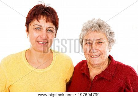 Portrait photo elderly woman and young caregiver