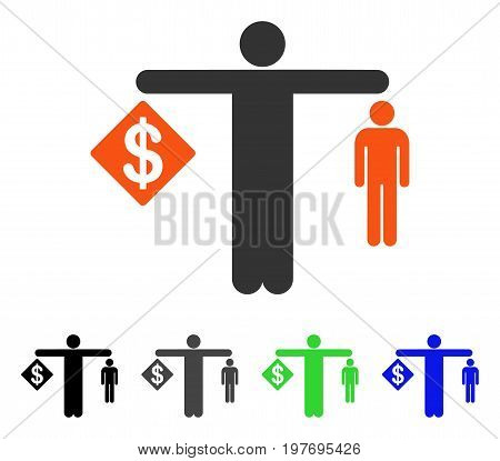 Money Vs Man flat vector illustration. Colored money vs man gray, black, blue, green icon versions. Flat icon style for web design.