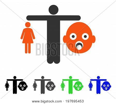 Mother Vs Baby flat vector illustration. Colored mother vs baby gray, black, blue, green pictogram variants. Flat icon style for graphic design.