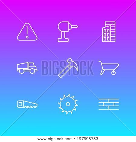 Editable Pack Of Circle Blade, Road Sign, Apartment And Other Elements.  Vector Illustration Of 9 Construction Icons.