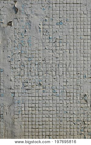 The Texture Of The Old Concrete Wall, With A Coating Of Shallow Tiles Of Square Shape, Painted In Gr