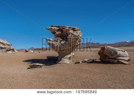 Arbol de Piedra or Stone tree Altiplano Bolivia