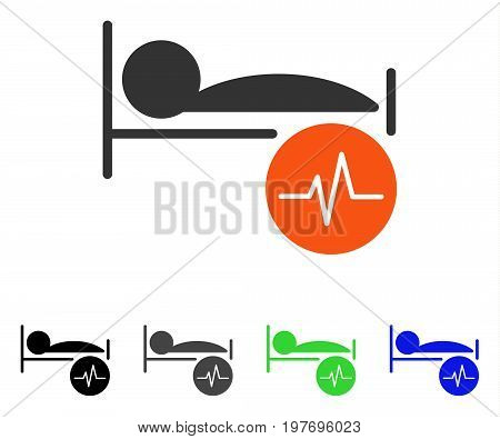 Patient ECG Control flat vector pictograph. Colored patient ecg control gray, black, blue, green pictogram variants. Flat icon style for web design.