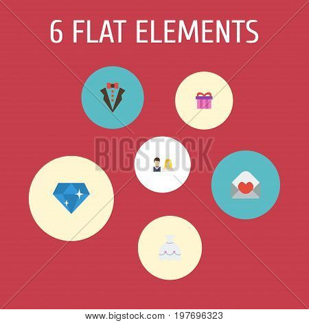 Flat Icons Couple, Bridegroom Dress, Wedding Gown And Other Vector Elements