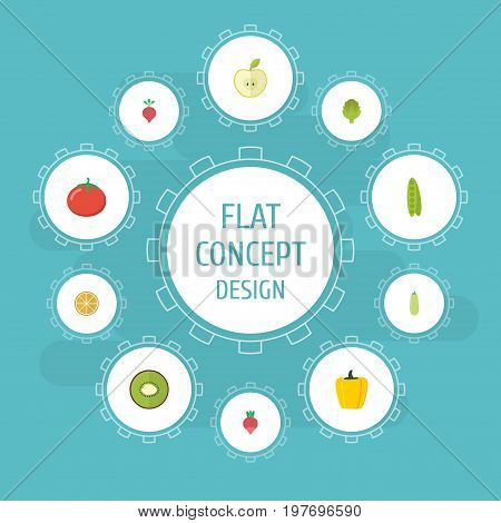 Flat Icons Love Apple, Herbaceous Plant, Turnip And Other Vector Elements