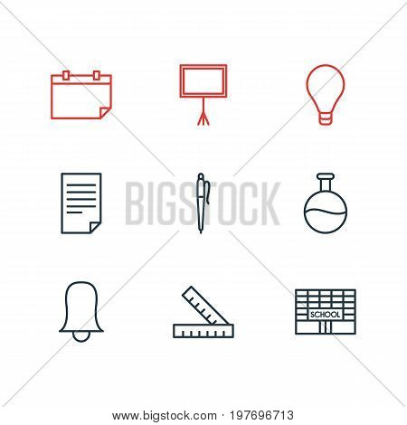 Editable Pack Of Jingle, Meter, Date And Other Elements.  Vector Illustration Of 9 Education Icons.