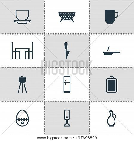 Editable Pack Of Tea Cup, Dinner Table, Frying Pan And Other Elements.  Vector Illustration Of 12 Cooking Icons.