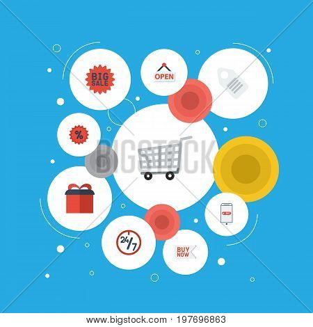 Flat Icons Purchase, Sign, Big Sale And Other Vector Elements