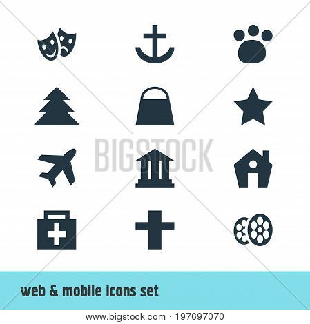 Editable Pack Of Drugstore, Masks, Handbag Elements.  Vector Illustration Of 12 Map Icons.