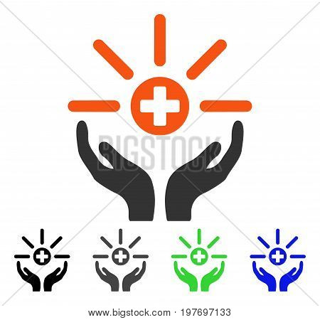Pharmacy Distribution Service flat vector pictograph. Colored pharmacy distribution service gray, black, blue, green pictogram variants. Flat icon style for web design.