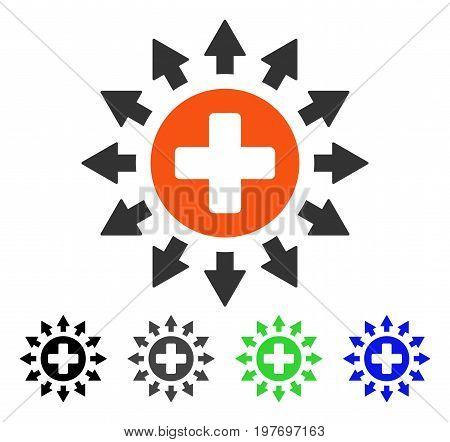 Pharmacy Distribution flat vector illustration. Colored pharmacy distribution gray, black, blue, green pictogram variants. Flat icon style for application design.