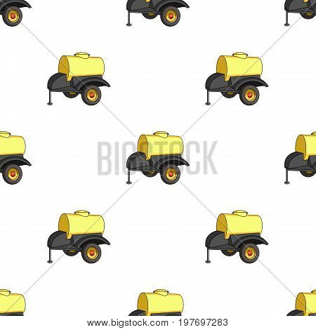 Black trailer on wheels with yellow barrel. Agricultural machinery for watering plants.Agricultural Machinery single icon in cartoon style vector symbol stock web illustration.