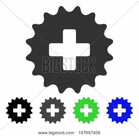 Plus Stamp flat vector pictograph. Colored plus stamp gray, black, blue, green pictogram versions. Flat icon style for graphic design.