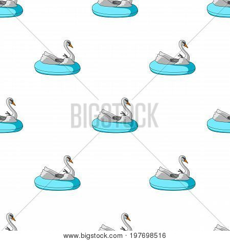 A boat for children in the shape of a swan. Attraction for children in the pool.Amusement park single icon in cartoon style vector symbol stock web illustration.