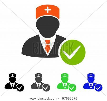 Valid Doctor flat vector pictogram. Colored valid doctor gray, black, blue, green pictogram versions. Flat icon style for graphic design.
