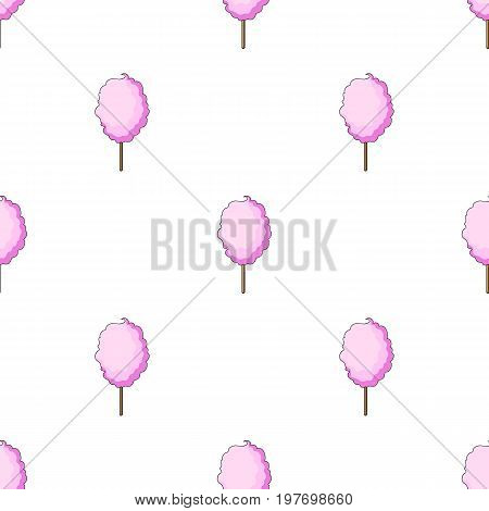 Pink sweet cotton wool on a stick. Dessert for children and sugar in the amusement park.Amusement park single icon in cartoon style vector symbol stock web illustration.