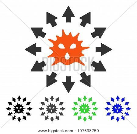 Virus Pandemy flat vector pictograph. Colored virus pandemy gray, black, blue, green icon variants. Flat icon style for web design.