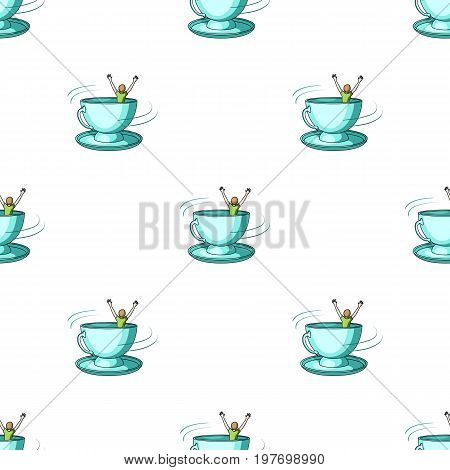 A large blue cup with a saucer with people inside. Entertainment in the amusement park.Amusement park single icon in cartoon style vector symbol stock web illustration.