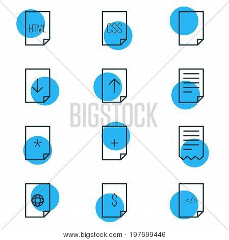 Editable Pack Of Folder, Basic, HTML And Other Elements.  Vector Illustration Of 12 Document Icons.