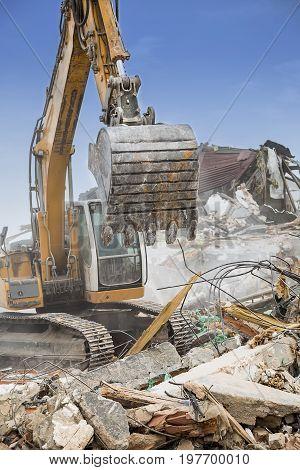 Excavator Demolishing Barracks 2