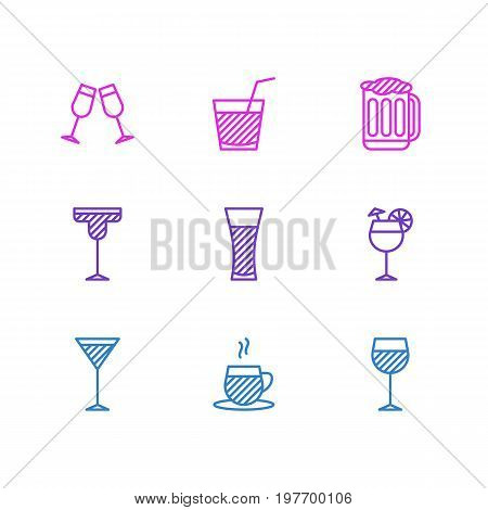 Editable Pack Of Martini, Cocktail, Celebrate And Other Elements.  Vector Illustration Of 9 Drinks Icons.