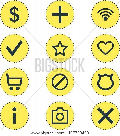 Editable Pack Of Info, Plus, Wrong And Other Elements.  Vector Illustration Of 12 User Icons.