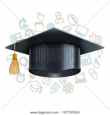 Graduation cap or mortar board and education symbols isolated on white background