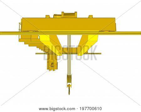 Factory overhead crane. EPS 10 vector format. Vector rendering of 3d
