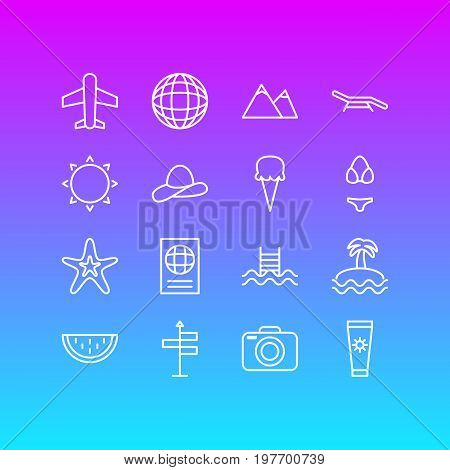 Editable Pack Of Earth, Airplane, Fish And Other Elements.  Vector Illustration Of 16 Season Icons.