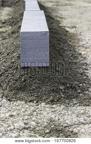 Granite Kerb Stone At Construction Site