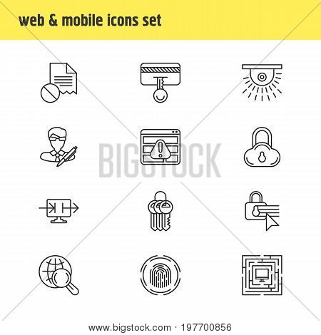 Editable Pack Of Confidentiality Options, Data Error, Browser Warning And Other Elements.  Vector Illustration Of 12 Privacy Icons.