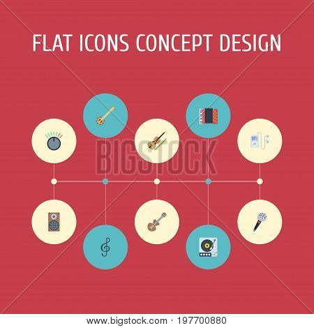 Flat Icons Mp3 Player, Karaoke, Turntable And Other Vector Elements