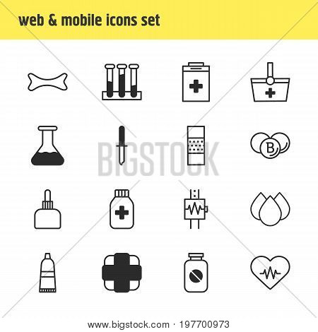 Editable Pack Of Basket, Trickle, Heartbeat And Other Elements.  Vector Illustration Of 16 Health Icons.